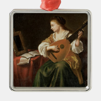 The Lute Player (oil on panel) Silver-Colored Square Decoration