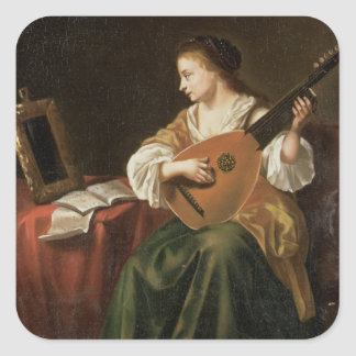 The Lute Player (oil on panel) Stickers