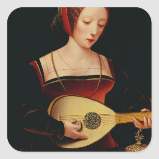 The Lute Player Square Sticker