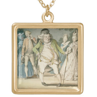 The Macaroni, 1774 (w/c on paper) Gold Plated Necklace