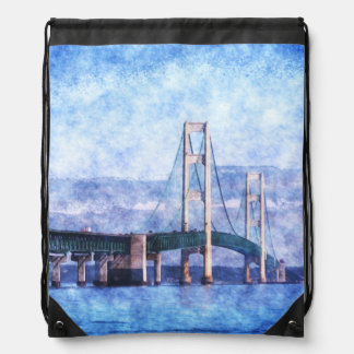 The Mackinac Bridge Drawstring Bag