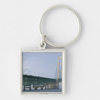 The Mackinac Bridge spanning the Straits of 2 Silver-Colored Square Key Ring