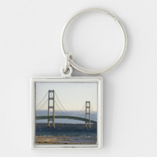 The Mackinac Bridge spanning the Straits of 4 Silver-Colored Square Key Ring