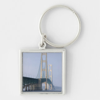 The Mackinac Bridge spanning the Straits of Silver-Colored Square Key Ring
