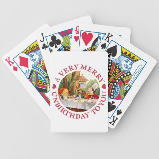 The Mad Hatter says A Very Merry Unbirthday To You Bicycle Playing Cards
