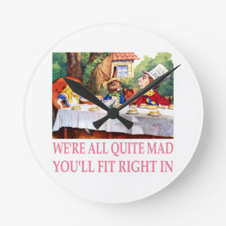 The Mad Hatter's Tea Party in Alice in Wonderland Round Clock