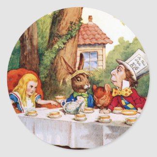 The Mad Hatter's Tea Party in Wonderland Classic Round Sticker