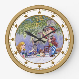 The Mad Hatter's Tea Party in Wonderland Large Clock