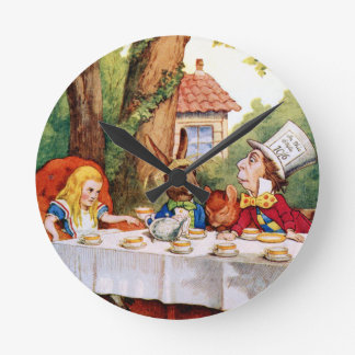 The Mad Hatter's Tea Party in Wonderland Round Clock