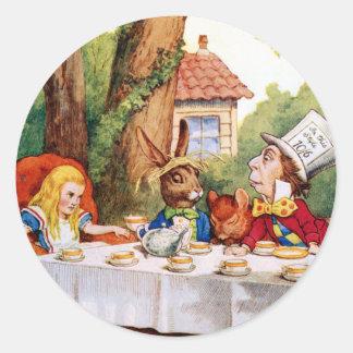 The Mad Hatter's Tea Party in Wonderland Round Sticker