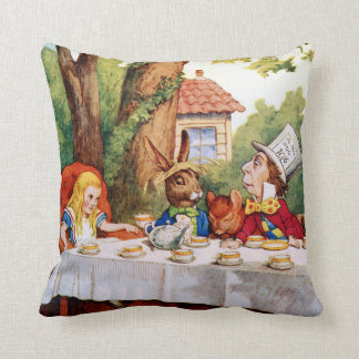 The Mad Hatter's Tea Party in Wonderland Throw Pillow