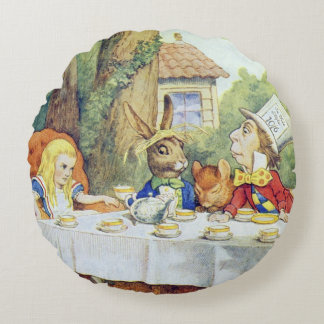 The Mad Hatter's Tea Party Round Pillow