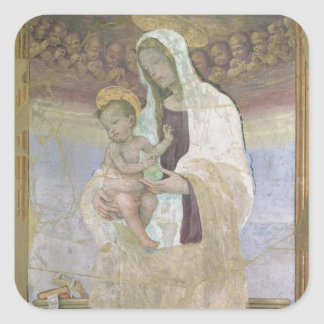 The Madonna and Child, a detail from the tabernacl Square Sticker