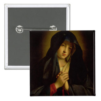 The Madonna in Sorrow (oil on canvas) 15 Cm Square Badge