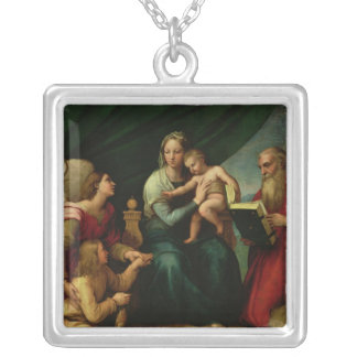 The Madonna of the Fish  c.1513 Silver Plated Necklace