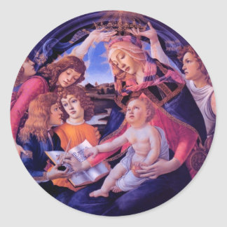 The Madonna of the Magnificat Round Stickers