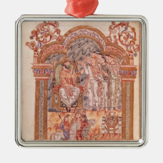 The Magi Visiting King Herod Silver-Colored Square Decoration