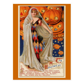 """The Magic Halloween"" Vintage Card Postcard"