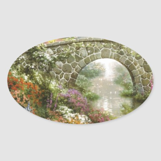 The Magical Bridge Oval Stickers