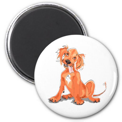 The magnet with cute red setter puppy picture