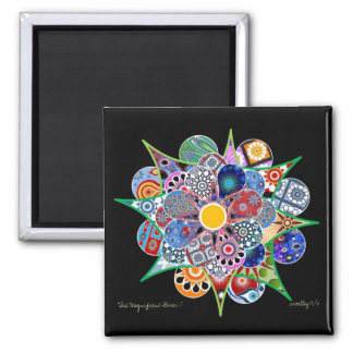 The Magnificent Flower I Square Magnet