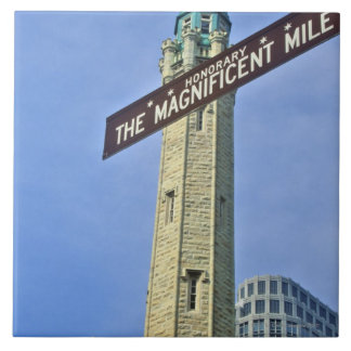 'The Magnificent Mile Sign with the Water Tower, Tile