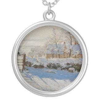 The Magpie La Pie by Claude Monet Round Pendant Necklace