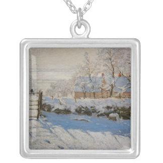 The Magpie La Pie by Claude Monet Square Pendant Necklace