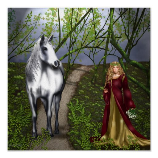 The Maiden and the Unicorn Print