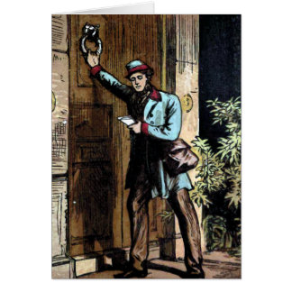 """The Mailman"" Vintage Illustration Greeting Card"