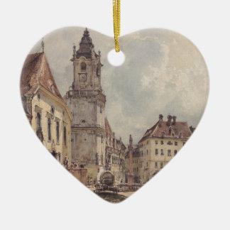 The main square in Bratislava by Rudolf von Alt Ceramic Heart Decoration