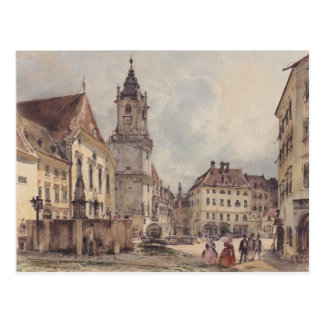 The main square in Bratislava by Rudolf von Alt Postcard