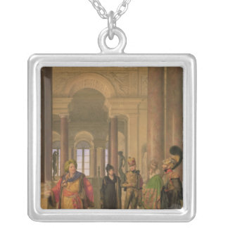 The Main Staircase of the Louvre, 1817 Silver Plated Necklace