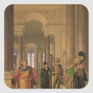 The Main Staircase of the Louvre, 1817 Square Sticker