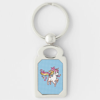 The Majestic Llamacorn Silver-Colored Rectangle Key Ring