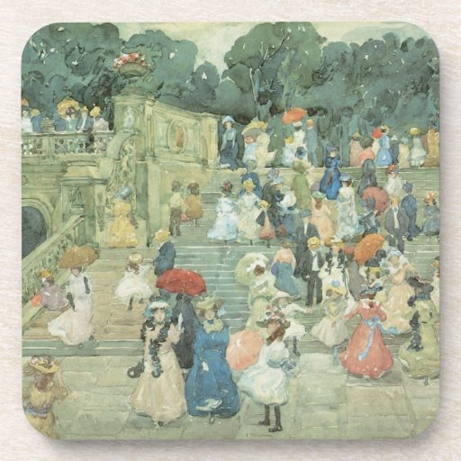 The Mall, Central Park by Prendergast, Vintage Art Coaster