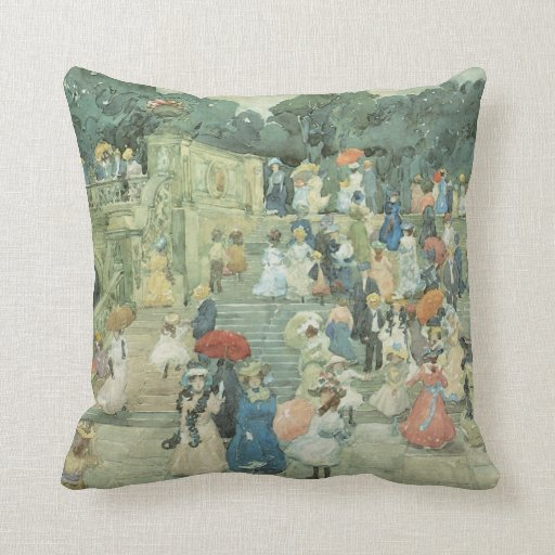 The Mall, Central Park by Prendergast, Vintage Art Pillow
