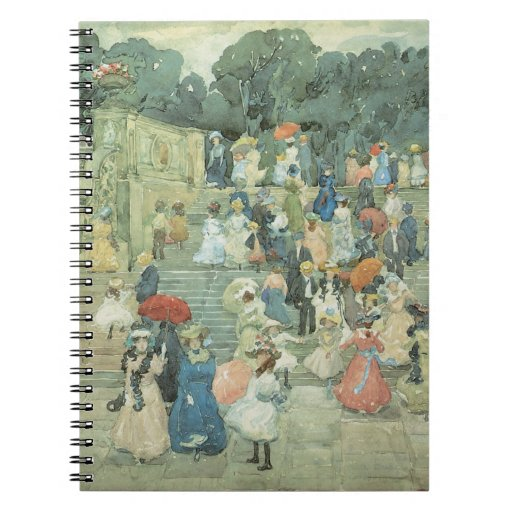 The Mall, Central Park by Prendergast, Vintage Art Spiral Note Books