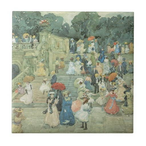 The Mall, Central Park by Prendergast, Vintage Art Ceramic Tiles