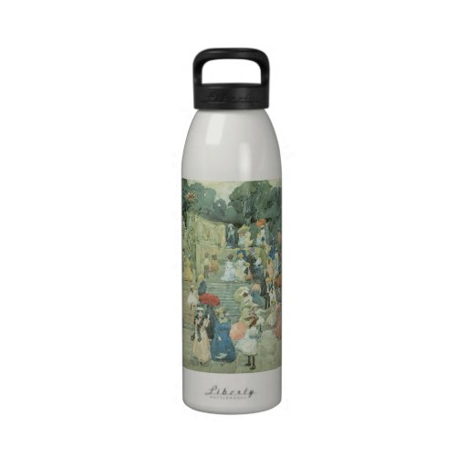 The Mall, Central Park by Prendergast, Vintage Art Reusable Water Bottles