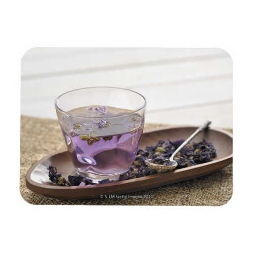 The mallow herb tea which a glass cup contains, rectangle magnets