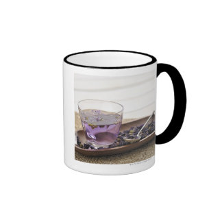 The mallow herb tea which a glass cup contains, ringer mug