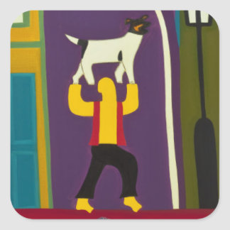 The Man and his dog every day in Portobello Road Square Sticker