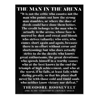 The Man in the Arena - motivational postcard
