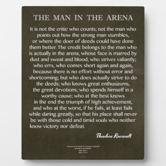The Man In The Arena Quote by Theodore Roosevelt Plaques