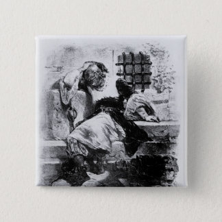 The Man in the Iron Mask in his Prison 15 Cm Square Badge