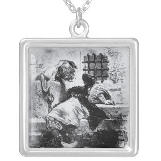The Man in the Iron Mask in his Prison Silver Plated Necklace