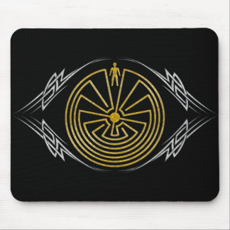 The Man in the Maze - Tribal gold silver Mouse Pad