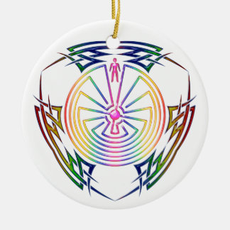 The Man in the Maze - Tribal Tattoo colored Christmas Ornament