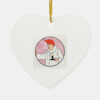 The Man in the Moon looked out of the moon Ceramic Heart Decoration